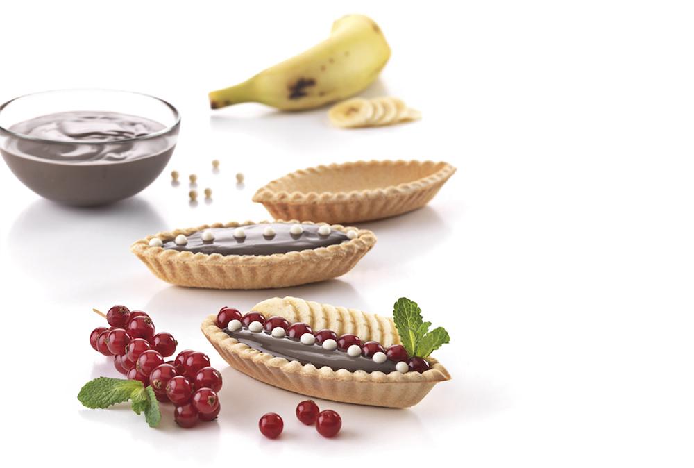 Barquetas BIO rellenas de chocolate, grosella y plátano